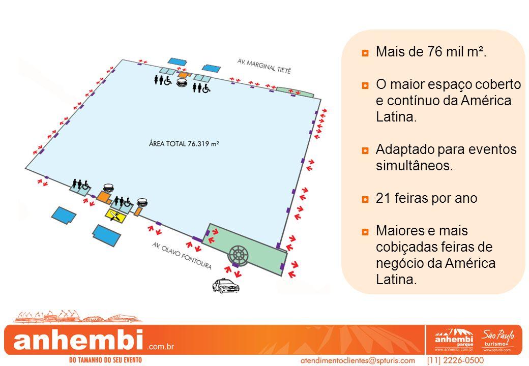 Mais de 76 mil m². O maior espaço coberto e contínuo da América Latina. Adaptado para eventos simultâneos. 21 feiras por ano Maiores e mais cobiçadas