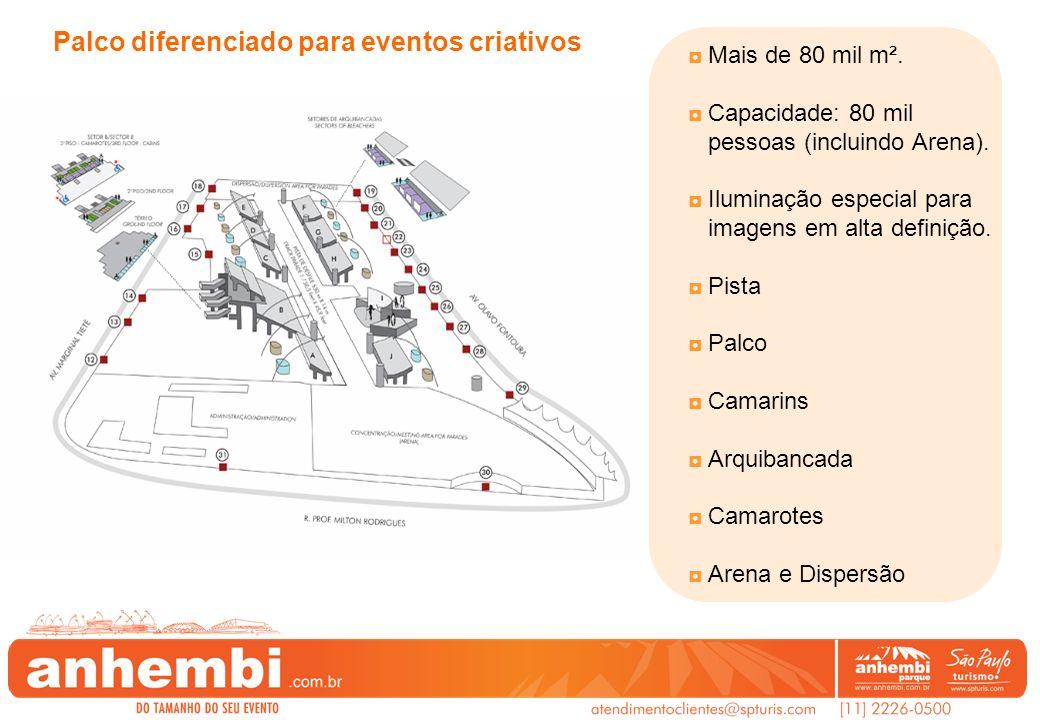 Mais de 80 mil m². Capacidade: 80 mil pessoas (incluindo Arena). Iluminação especial para imagens em alta definição. Pista Palco Camarins Arquibancada