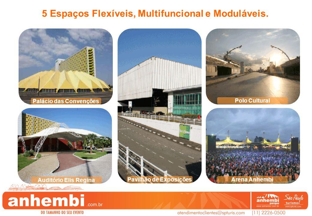 Palácio das Convenções Auditório Elis Regina Pavilhão de Exposições Polo Cultural Arena Anhembi 5 Espaços Flexíveis, Multifuncional e Moduláveis.