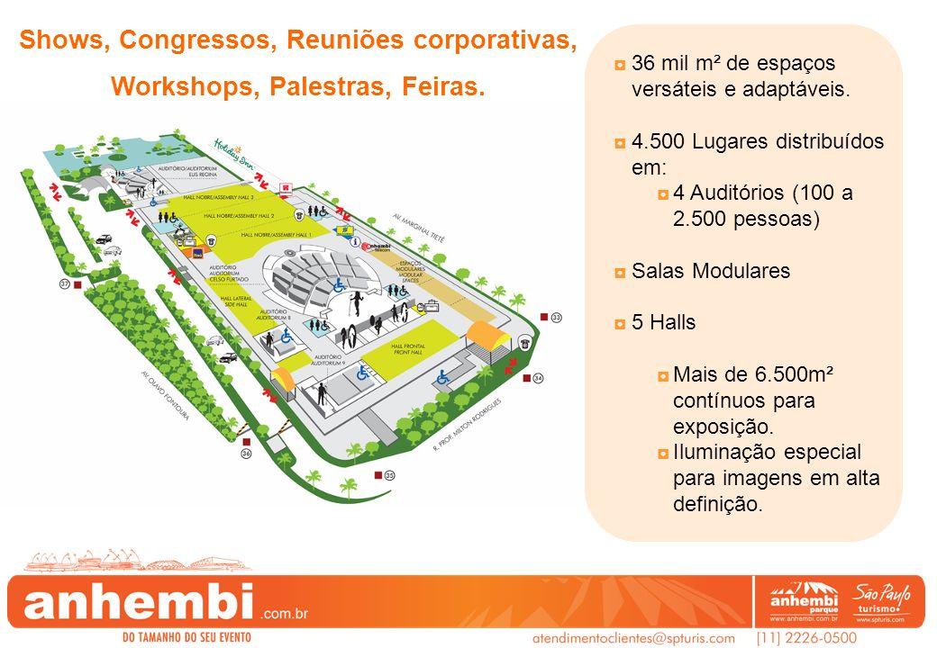 36 mil m² de espaços versáteis e adaptáveis. 4.500 Lugares distribuídos em: 4 Auditórios (100 a 2.500 pessoas) Salas Modulares 5 Halls Mais de 6.500m²