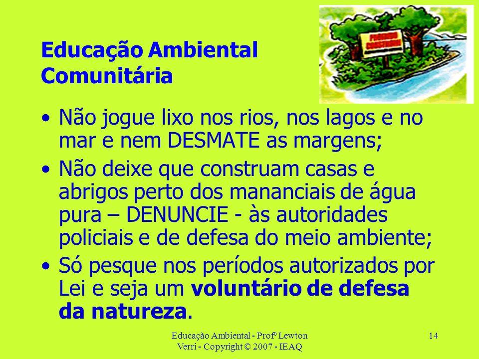 Educação Ambiental - Profº Lewton Verri - Copyright © 2007 - IEAQ 14 Educação Ambiental Comunitária Não jogue lixo nos rios, nos lagos e no mar e nem
