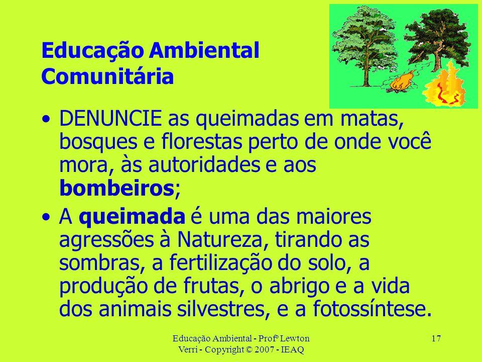 Educação Ambiental - Profº Lewton Verri - Copyright © 2007 - IEAQ 17 Educação Ambiental Comunitária DENUNCIE as queimadas em matas, bosques e floresta