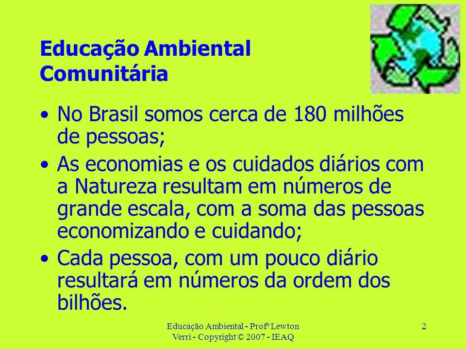 Educação Ambiental - Profº Lewton Verri - Copyright © 2007 - IEAQ 2 Educação Ambiental Comunitária No Brasil somos cerca de 180 milhões de pessoas; As