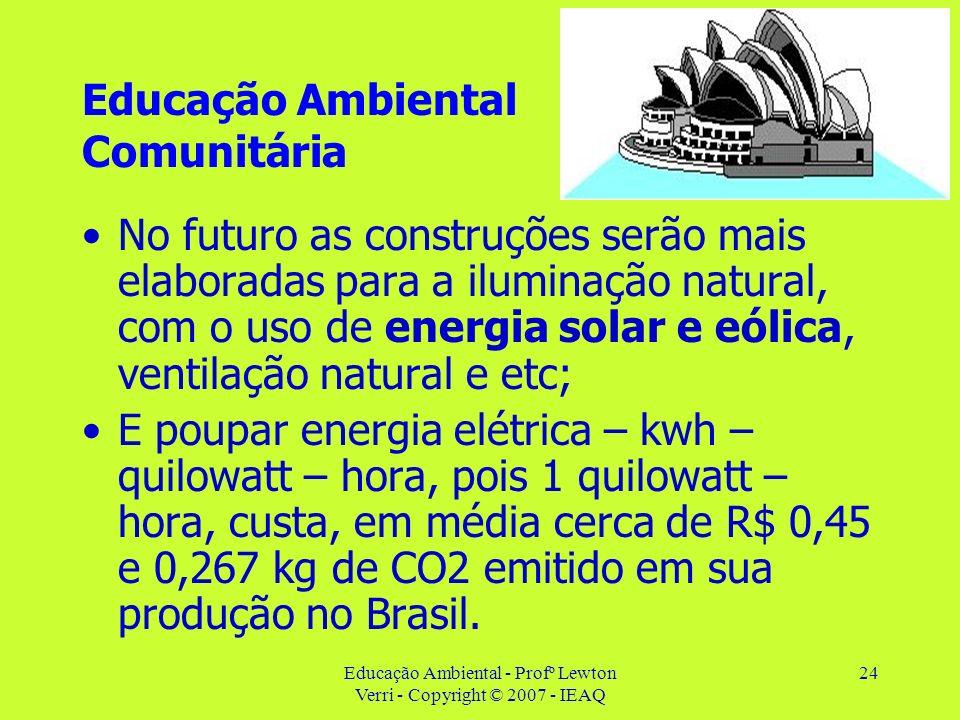 Educação Ambiental - Profº Lewton Verri - Copyright © 2007 - IEAQ 24 Educação Ambiental Comunitária No futuro as construções serão mais elaboradas par