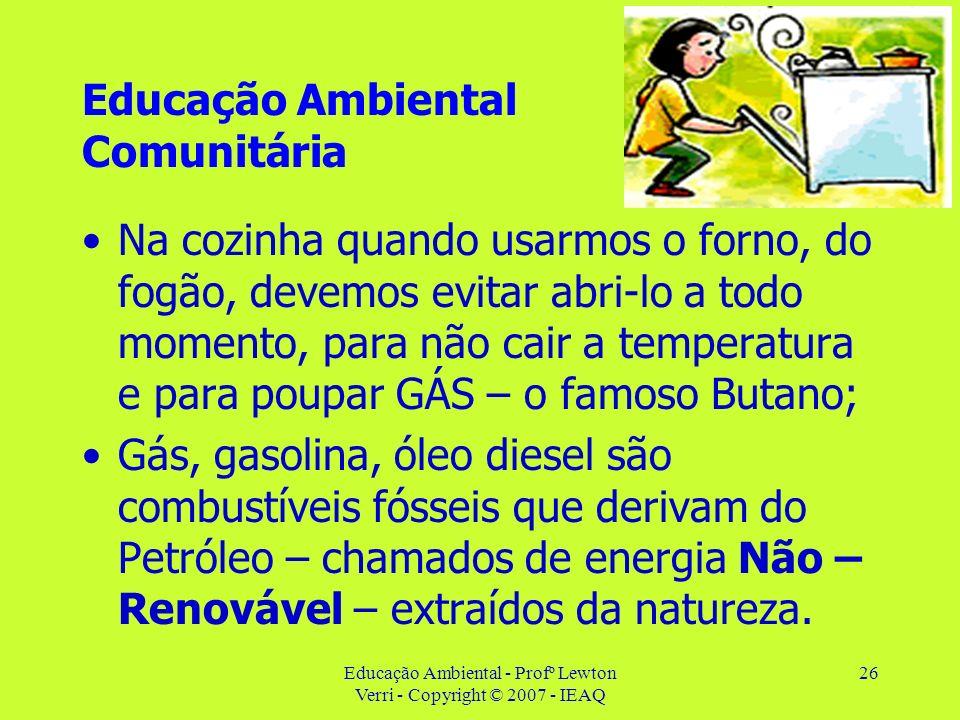 Educação Ambiental - Profº Lewton Verri - Copyright © 2007 - IEAQ 26 Educação Ambiental Comunitária Na cozinha quando usarmos o forno, do fogão, devem