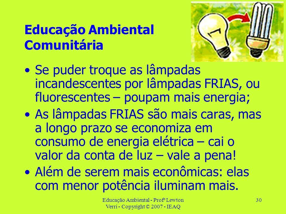 Educação Ambiental - Profº Lewton Verri - Copyright © 2007 - IEAQ 30 Educação Ambiental Comunitária Se puder troque as lâmpadas incandescentes por lâm
