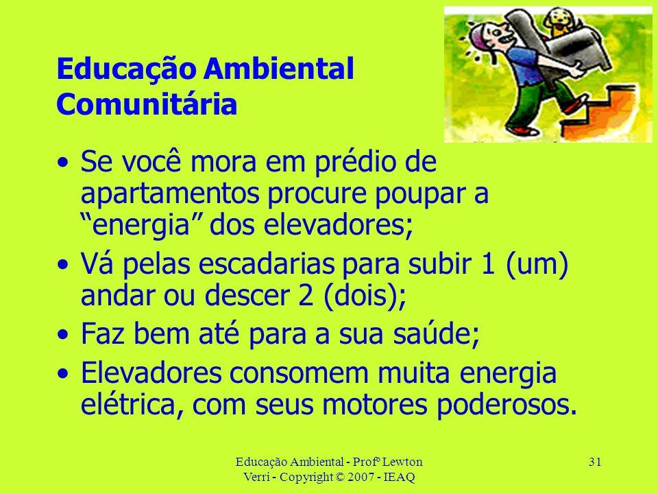 Educação Ambiental - Profº Lewton Verri - Copyright © 2007 - IEAQ 31 Educação Ambiental Comunitária Se você mora em prédio de apartamentos procure pou