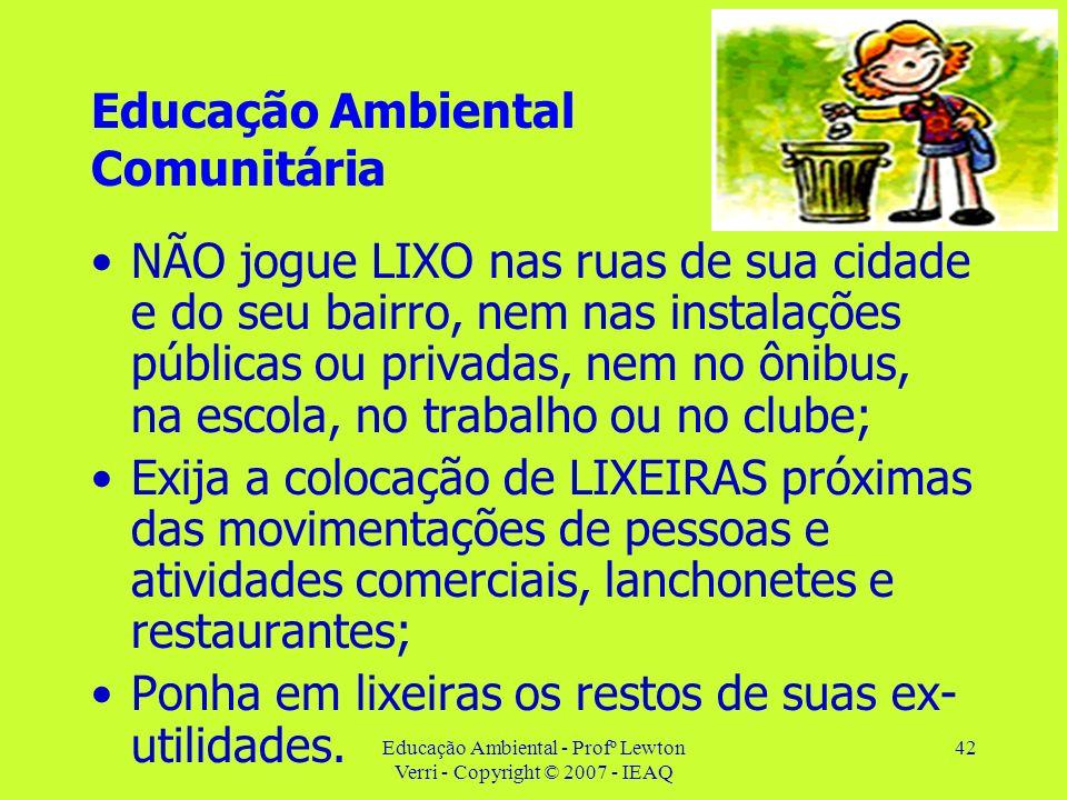Educação Ambiental - Profº Lewton Verri - Copyright © 2007 - IEAQ 42 Educação Ambiental Comunitária NÃO jogue LIXO nas ruas de sua cidade e do seu bai