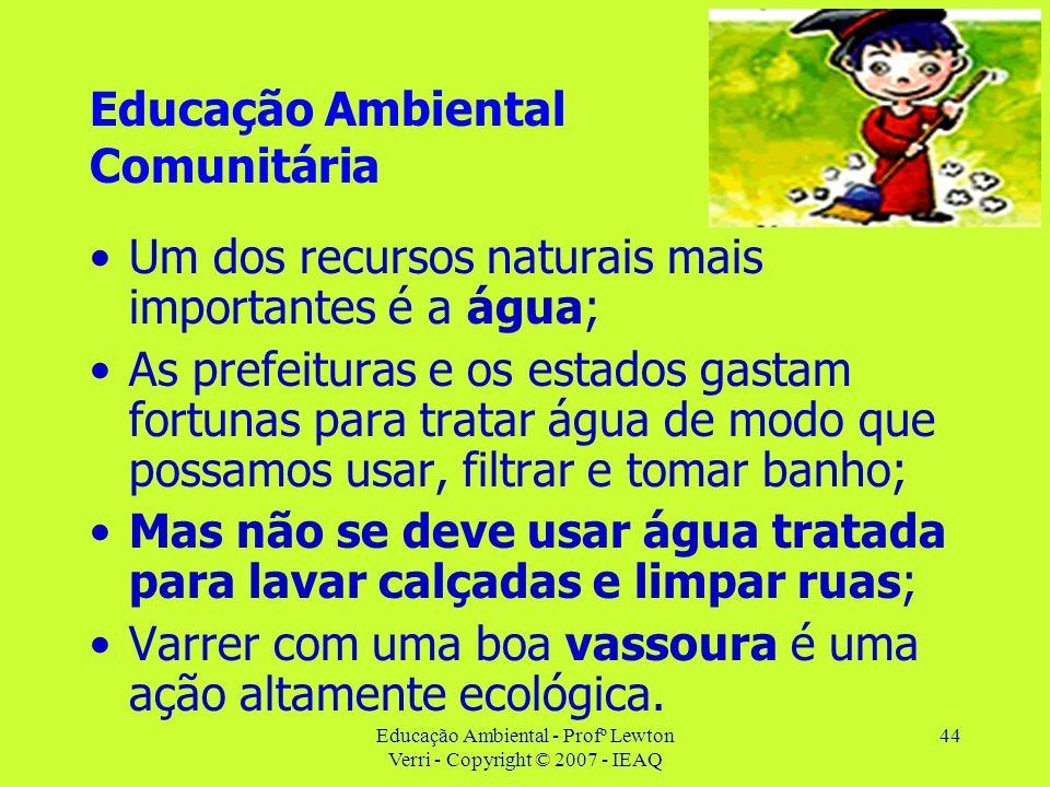 Educação Ambiental - Profº Lewton Verri - Copyright © 2007 - IEAQ 44 Educação Ambiental Comunitária Um dos recursos naturais mais importantes é a água