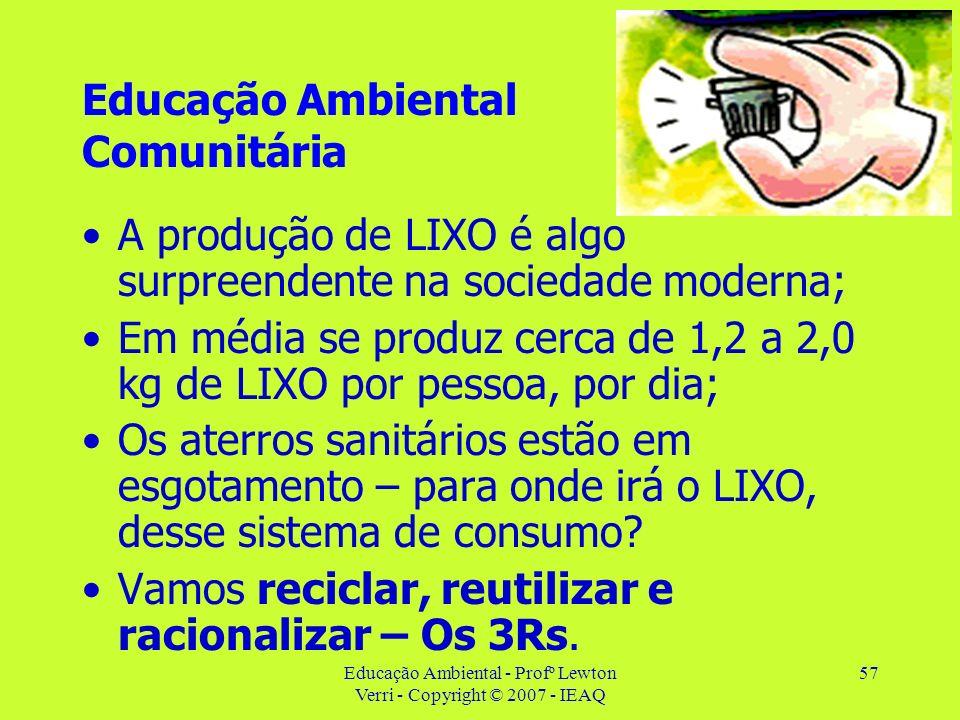 Educação Ambiental - Profº Lewton Verri - Copyright © 2007 - IEAQ 57 Educação Ambiental Comunitária A produção de LIXO é algo surpreendente na socieda