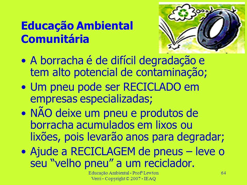 Educação Ambiental - Profº Lewton Verri - Copyright © 2007 - IEAQ 64 Educação Ambiental Comunitária A borracha é de difícil degradação e tem alto pote