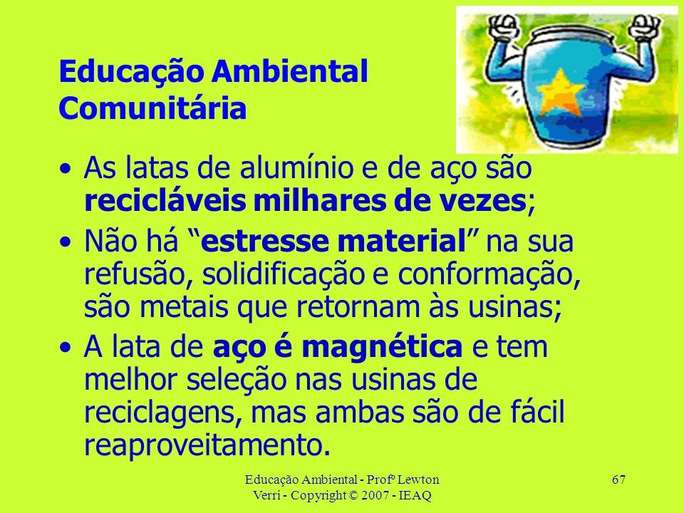Educação Ambiental - Profº Lewton Verri - Copyright © 2007 - IEAQ 67 Educação Ambiental Comunitária As latas de alumínio e de aço são recicláveis milh