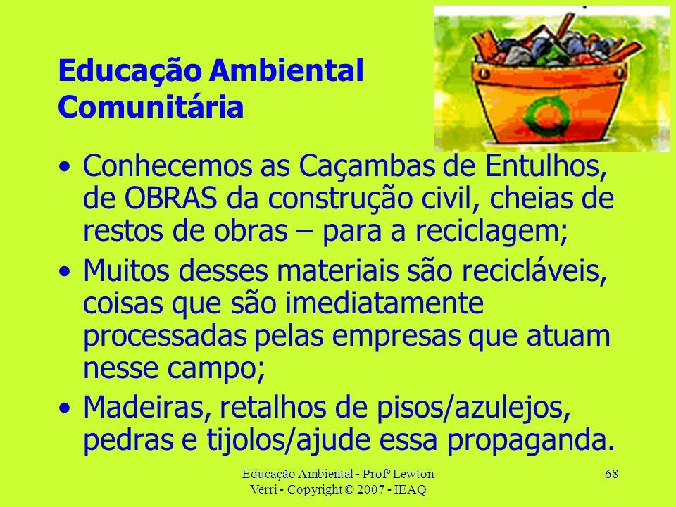 Educação Ambiental - Profº Lewton Verri - Copyright © 2007 - IEAQ 68 Educação Ambiental Comunitária Conhecemos as Caçambas de Entulhos, de OBRAS da co