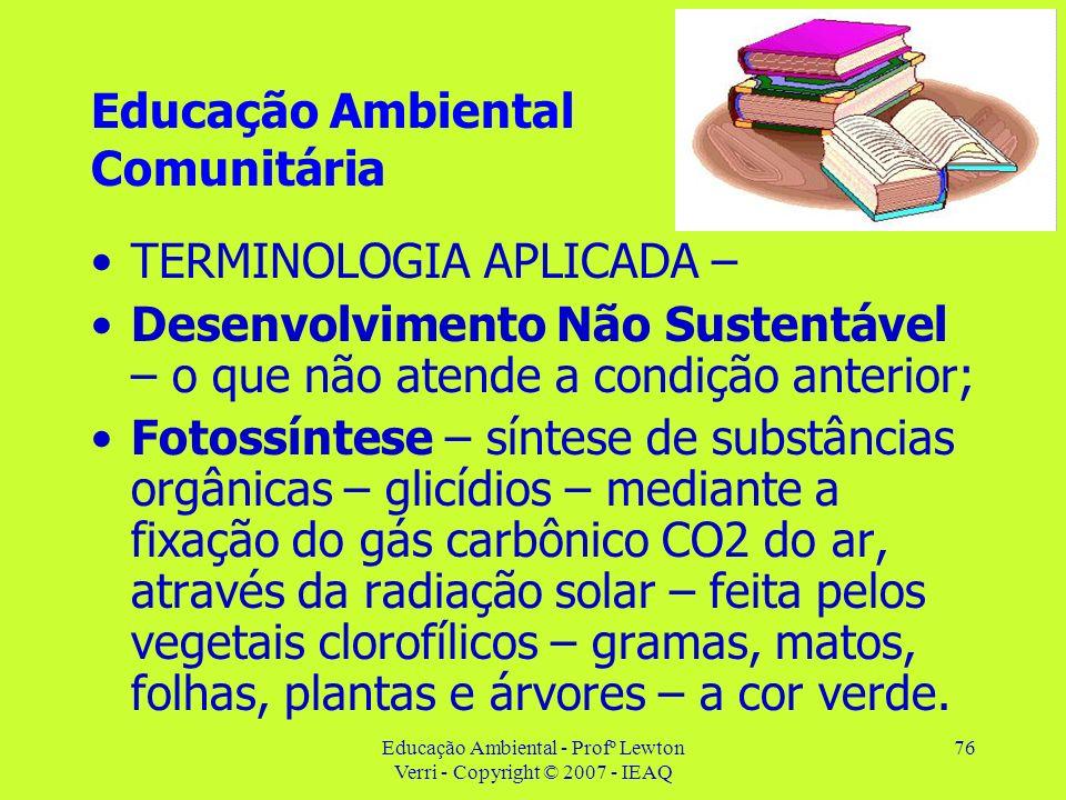 Educação Ambiental - Profº Lewton Verri - Copyright © 2007 - IEAQ 76 Educação Ambiental Comunitária TERMINOLOGIA APLICADA – Desenvolvimento Não Susten