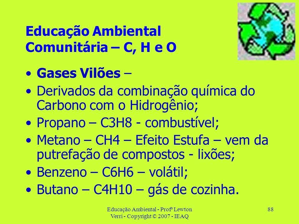Educação Ambiental - Profº Lewton Verri - Copyright © 2007 - IEAQ 88 Educação Ambiental Comunitária – C, H e O Gases Vilões – Derivados da combinação