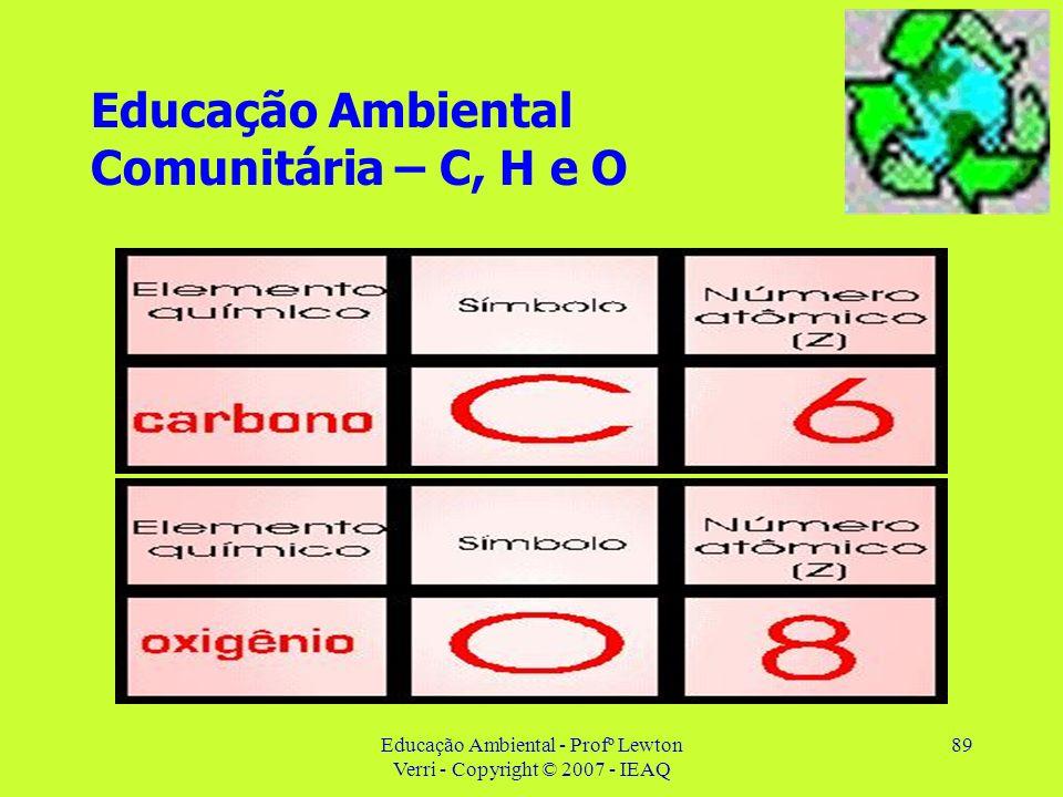 Educação Ambiental - Profº Lewton Verri - Copyright © 2007 - IEAQ 89 Educação Ambiental Comunitária – C, H e O