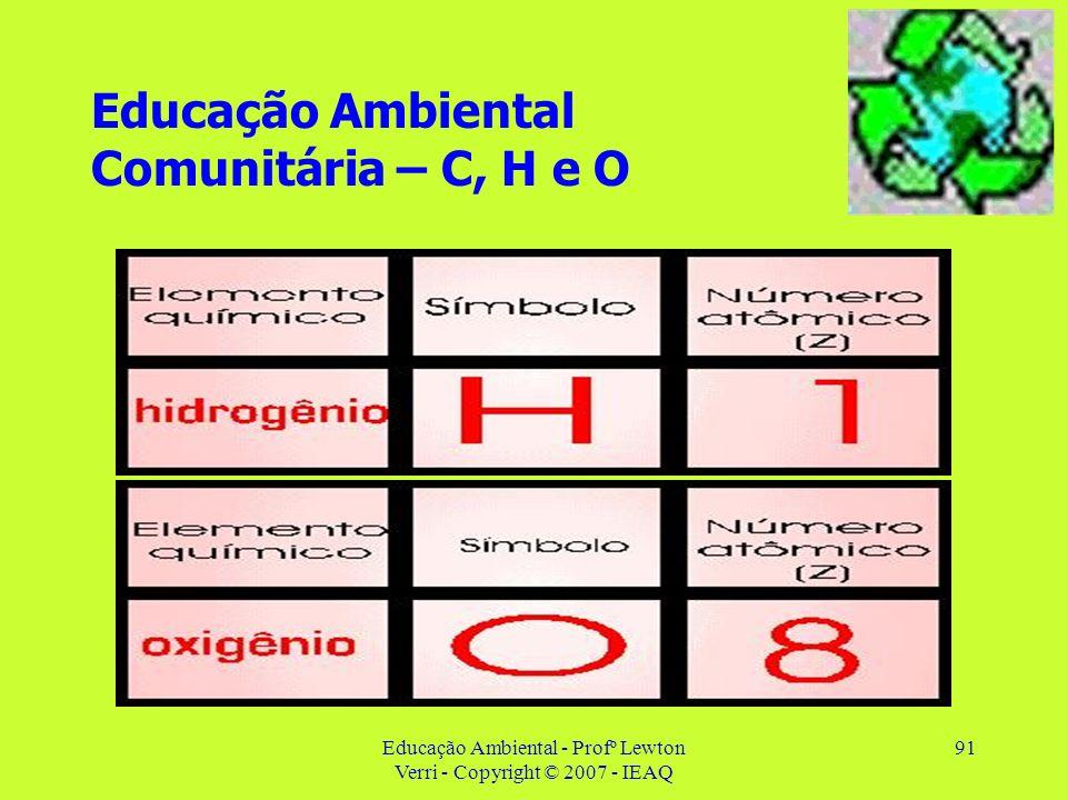 Educação Ambiental - Profº Lewton Verri - Copyright © 2007 - IEAQ 91 Educação Ambiental Comunitária – C, H e O