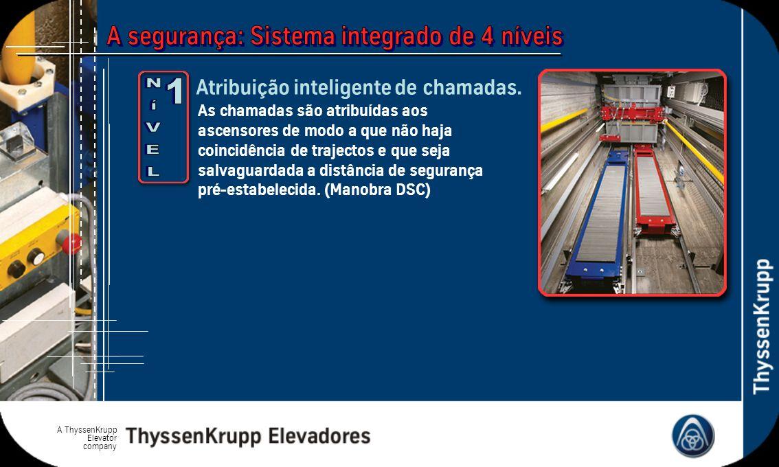 A ThyssenKrupp Elevator company As chamadas são atribuídas aos ascensores de modo a que não haja coincidência de trajectos e que seja salvaguardada a