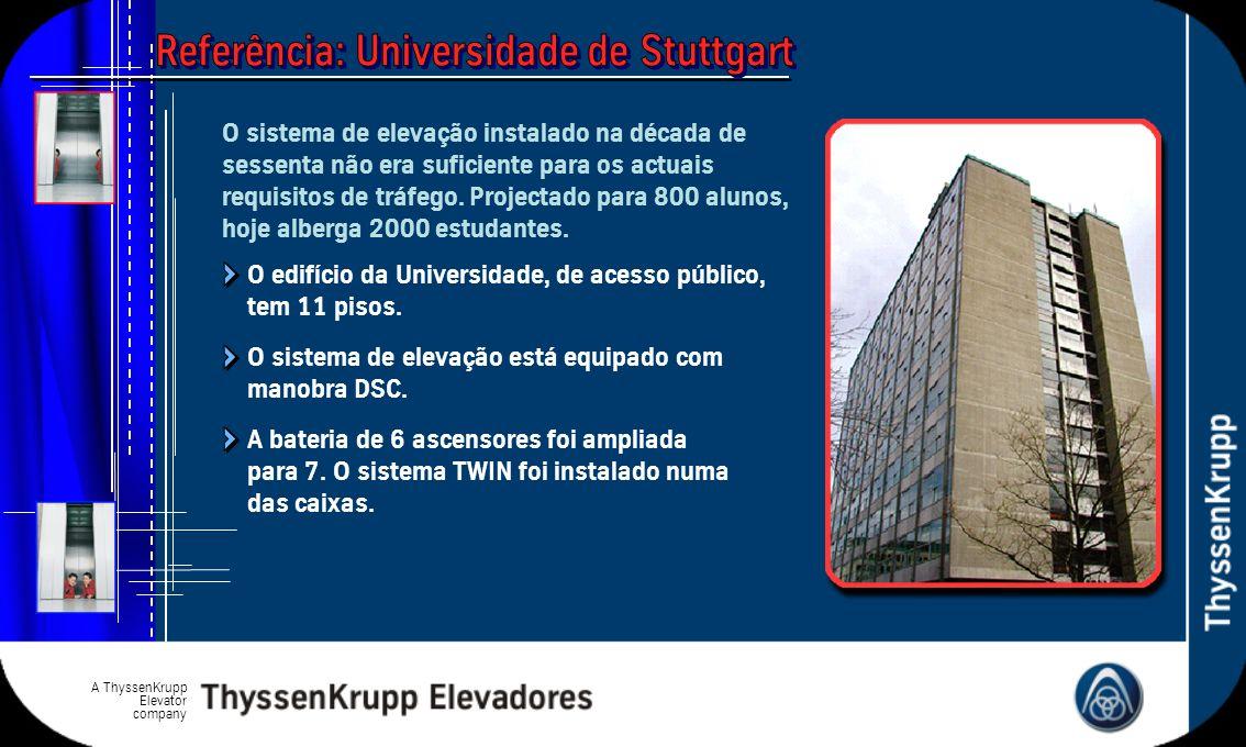A ThyssenKrupp Elevator company O edifício da Universidade, de acesso público, tem 11 pisos. A bateria de 6 ascensores foi ampliada para 7. O sistema