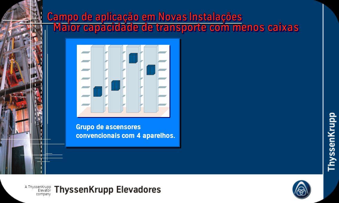A ThyssenKrupp Elevator company Grupo de ascensores convencionais com 4 aparelhos.