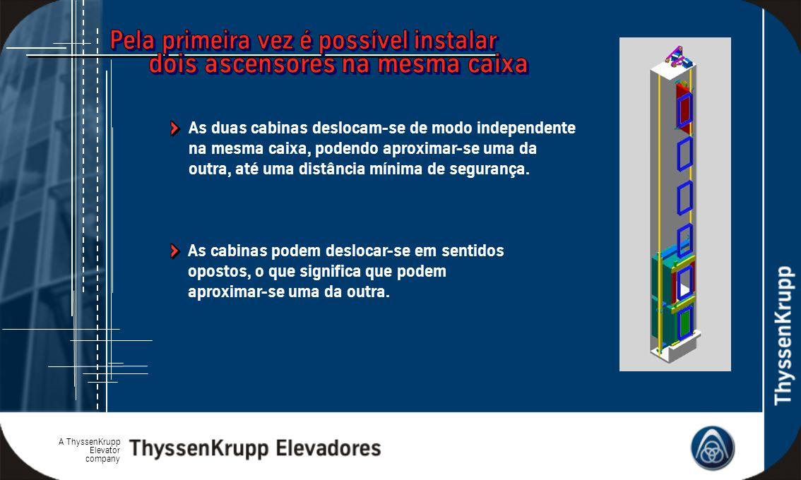 A ThyssenKrupp Elevator company As cabinas podem deslocar-se em sentidos opostos, o que significa que podem aproximar-se uma da outra. As duas cabinas