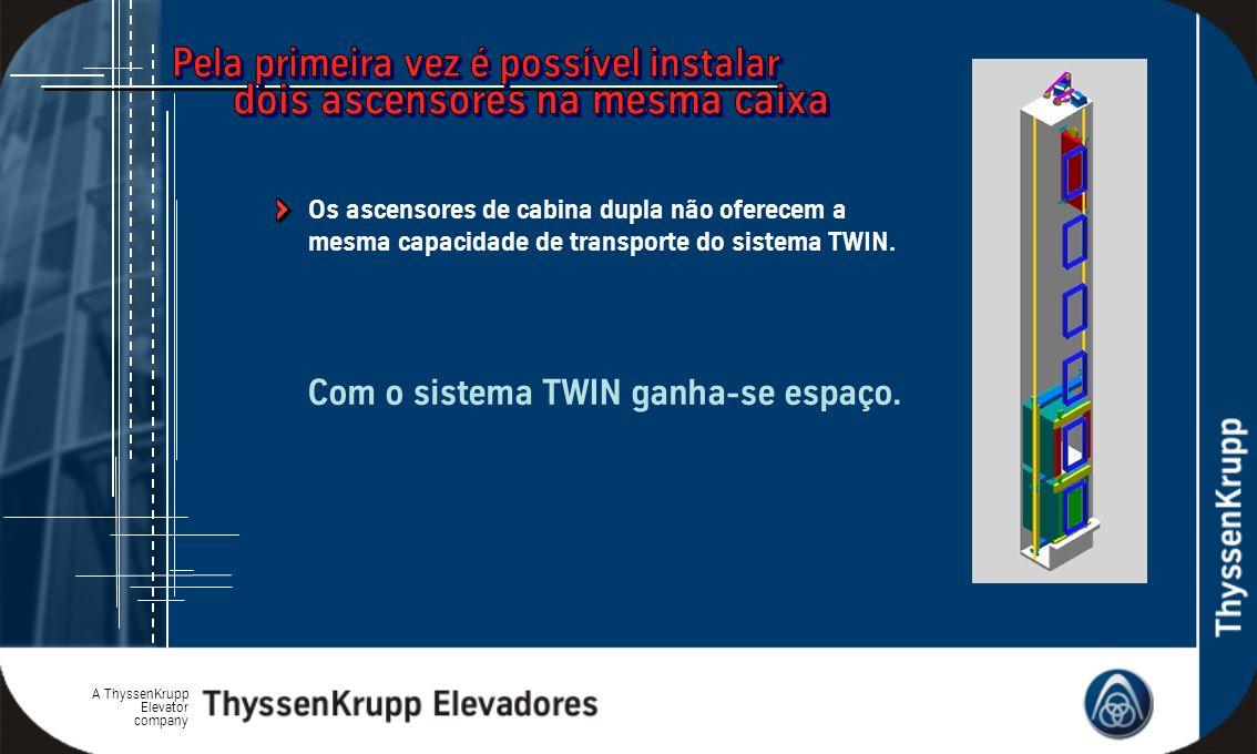 A ThyssenKrupp Elevator company Com o sistema TWIN ganha-se espaço. Os ascensores de cabina dupla não oferecem a mesma capacidade de transporte do sis