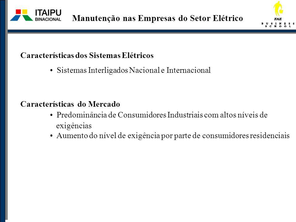 Características dos Sistemas Elétricos Sistemas Interligados Nacional e Internacional Características do Mercado Predominância de Consumidores Industr