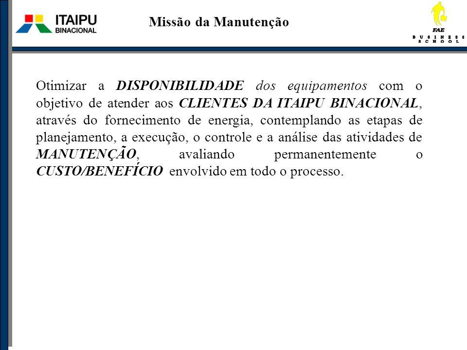 Missão da Manutenção Otimizar a DISPONIBILIDADE dos equipamentos com o objetivo de atender aos CLIENTES DA ITAIPU BINACIONAL, através do fornecimento