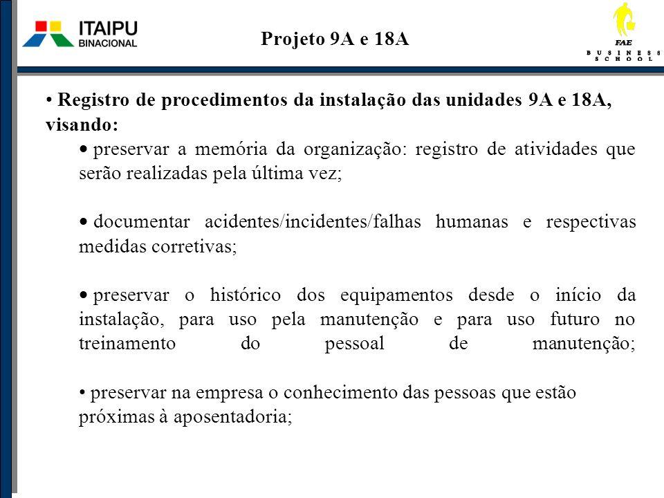 Projeto 9A e 18A Registro de procedimentos da instalação das unidades 9A e 18A, visando: preservar a memória da organização: registro de atividades qu