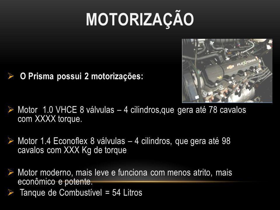 MOTORIZAÇÃO O Prisma possui 2 motorizações: Motor 1.0 VHCE 8 válvulas – 4 cilindros,que gera até 78 cavalos com XXXX torque. Motor 1.4 Econoflex 8 vál
