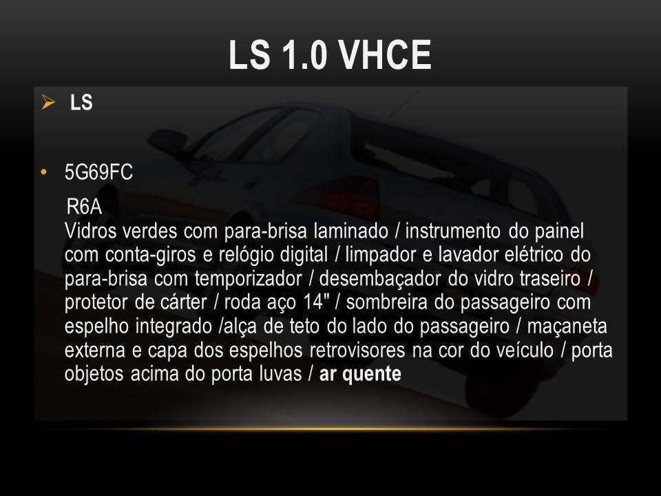 LS 1.0 VHCE LS 5G69FC R6A Vidros verdes com para-brisa laminado / instrumento do painel com conta-giros e relógio digital / limpador e lavador elétric
