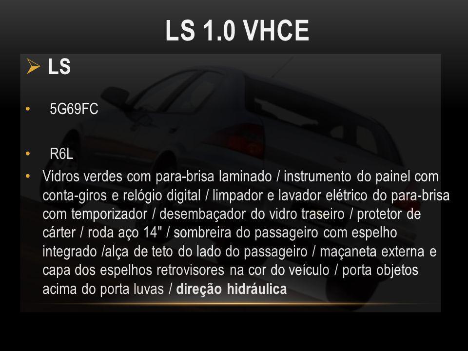 LS 1.0 VHCE LS 5G69FC R6L Vidros verdes com para-brisa laminado / instrumento do painel com conta-giros e relógio digital / limpador e lavador elétric