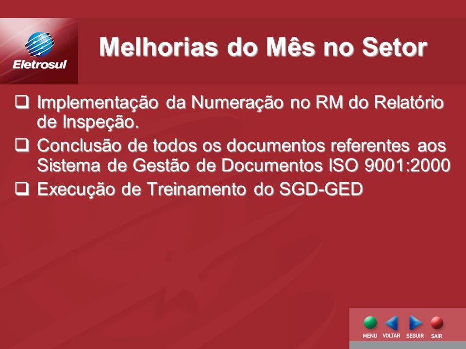 Melhorias do Mês no Setor Implementação da Numeração no RM do Relatório de Inspeção.
