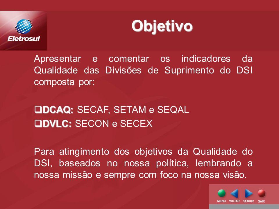 Apresentar e comentar os indicadores da Qualidade das Divisões de Suprimento do DSI composta por: DCAQ: DCAQ: SECAF, SETAM e SEQAL DVLC: DVLC: SECON e SECEX Para atingimento dos objetivos da Qualidade do DSI, baseados no nossa política, lembrando a nossa missão e sempre com foco na nossa visão.