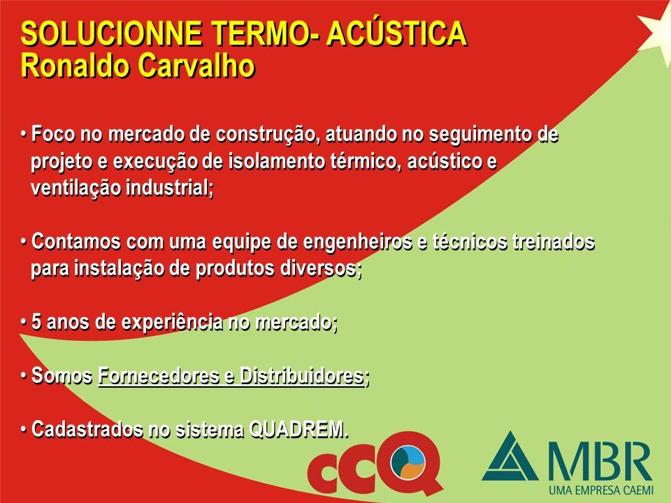 SOLUCIONNE TERMO- ACÚSTICA Entrega do folder; Apresentação Institucional. Entrega do folder; Apresentação Institucional. Ronaldo Carvalho
