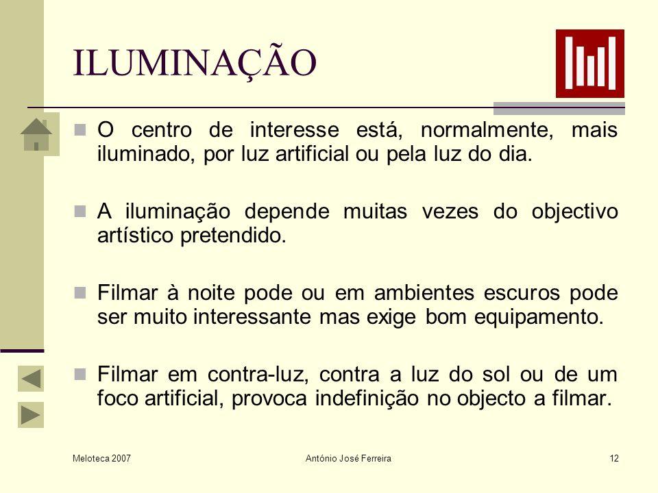 Meloteca 2007 António José Ferreira12 ILUMINAÇÃO O centro de interesse está, normalmente, mais iluminado, por luz artificial ou pela luz do dia. A ilu