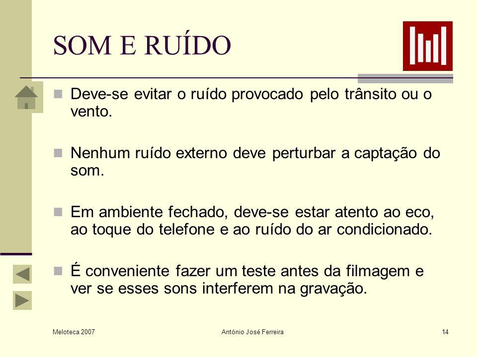 Meloteca 2007 António José Ferreira14 SOM E RUÍDO Deve-se evitar o ruído provocado pelo trânsito ou o vento. Nenhum ruído externo deve perturbar a cap