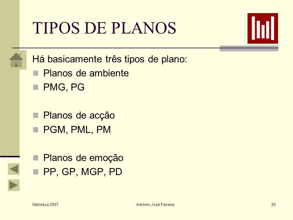 Meloteca 2007 António José Ferreira20 TIPOS DE PLANOS Há basicamente três tipos de plano: Planos de ambiente PMG, PG Planos de acção PGM, PML, PM Plan