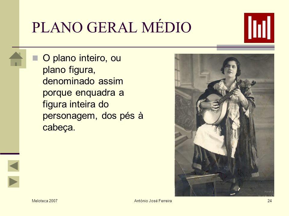 Meloteca 2007 António José Ferreira24 PLANO GERAL MÉDIO O plano inteiro, ou plano figura, denominado assim porque enquadra a figura inteira do persona