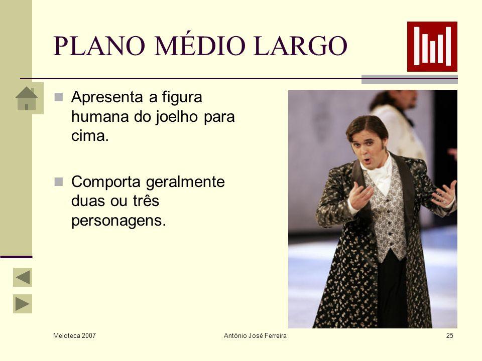 Meloteca 2007 António José Ferreira25 PLANO MÉDIO LARGO Apresenta a figura humana do joelho para cima. Comporta geralmente duas ou três personagens.