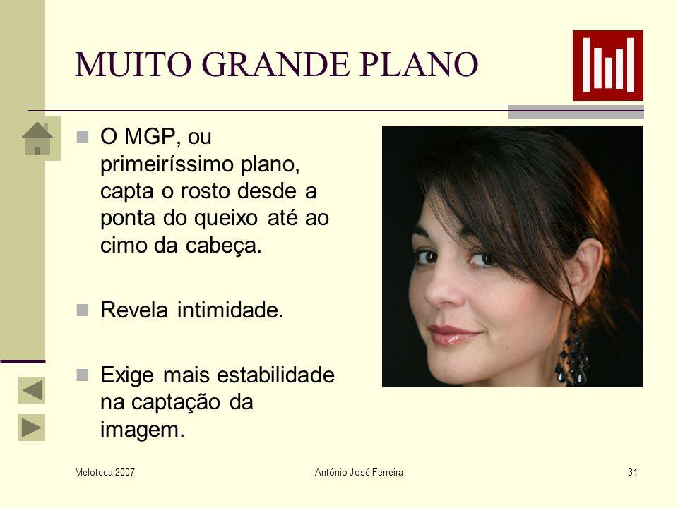 Meloteca 2007 António José Ferreira31 MUITO GRANDE PLANO O MGP, ou primeiríssimo plano, capta o rosto desde a ponta do queixo até ao cimo da cabeça. R