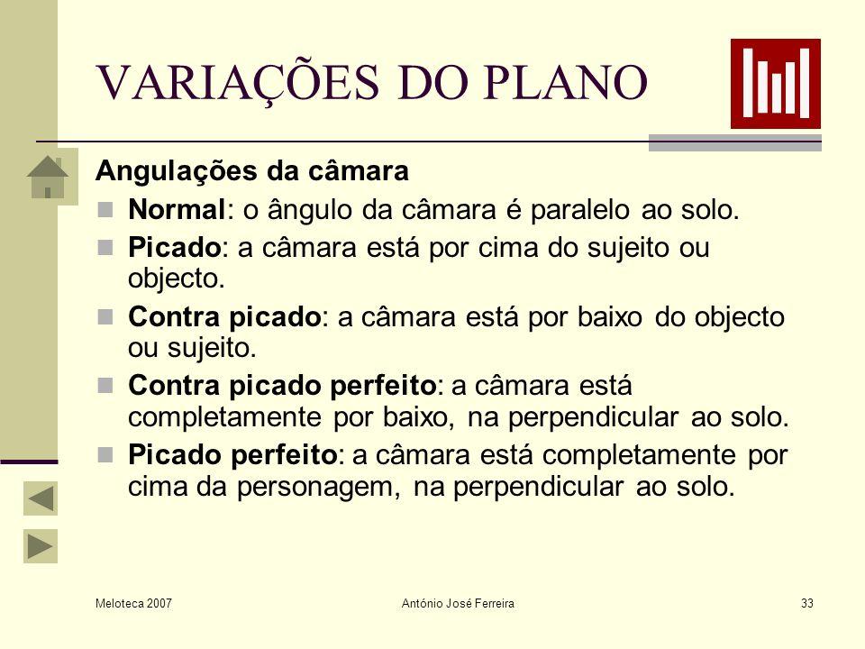 Meloteca 2007 António José Ferreira33 VARIAÇÕES DO PLANO Angulações da câmara Normal: o ângulo da câmara é paralelo ao solo. Picado: a câmara está por