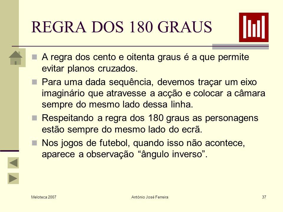 Meloteca 2007 António José Ferreira37 REGRA DOS 180 GRAUS A regra dos cento e oitenta graus é a que permite evitar planos cruzados. Para uma dada sequ