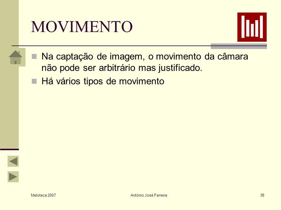 Meloteca 2007 António José Ferreira38 MOVIMENTO Na captação de imagem, o movimento da câmara não pode ser arbitrário mas justificado. Há vários tipos