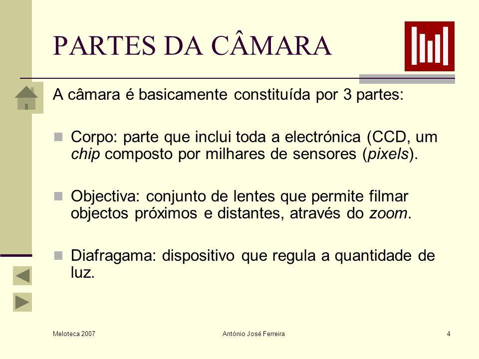 Meloteca 2007 António José Ferreira4 PARTES DA CÂMARA A câmara é basicamente constituída por 3 partes: Corpo: parte que inclui toda a electrónica (CCD