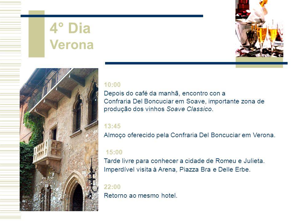 10:00 Depois do café da manhã, encontro com a Confraria Dei Colli Berici, em Vicenza.