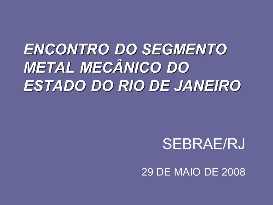 ENCONTRO DO SEGMENTO METAL MECÂNICO DO ESTADO DO RIO DE JANEIRO SEBRAE/RJ 29 DE MAIO DE 2008