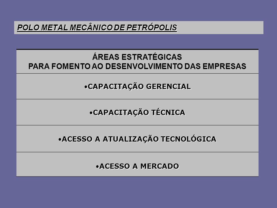 POLO METAL MECÂNICO DE PETRÓPOLIS ÁREAS ESTRATÉGICAS PARA FOMENTO AO DESENVOLVIMENTO DAS EMPRESAS CAPACITAÇÃO GERENCIALCAPACITAÇÃO GERENCIAL CAPACITAÇÃO TÉCNICACAPACITAÇÃO TÉCNICA ACESSO A ATUALIZAÇÃO TECNOLÓGICAACESSO A ATUALIZAÇÃO TECNOLÓGICA ACESSO A MERCADOACESSO A MERCADO