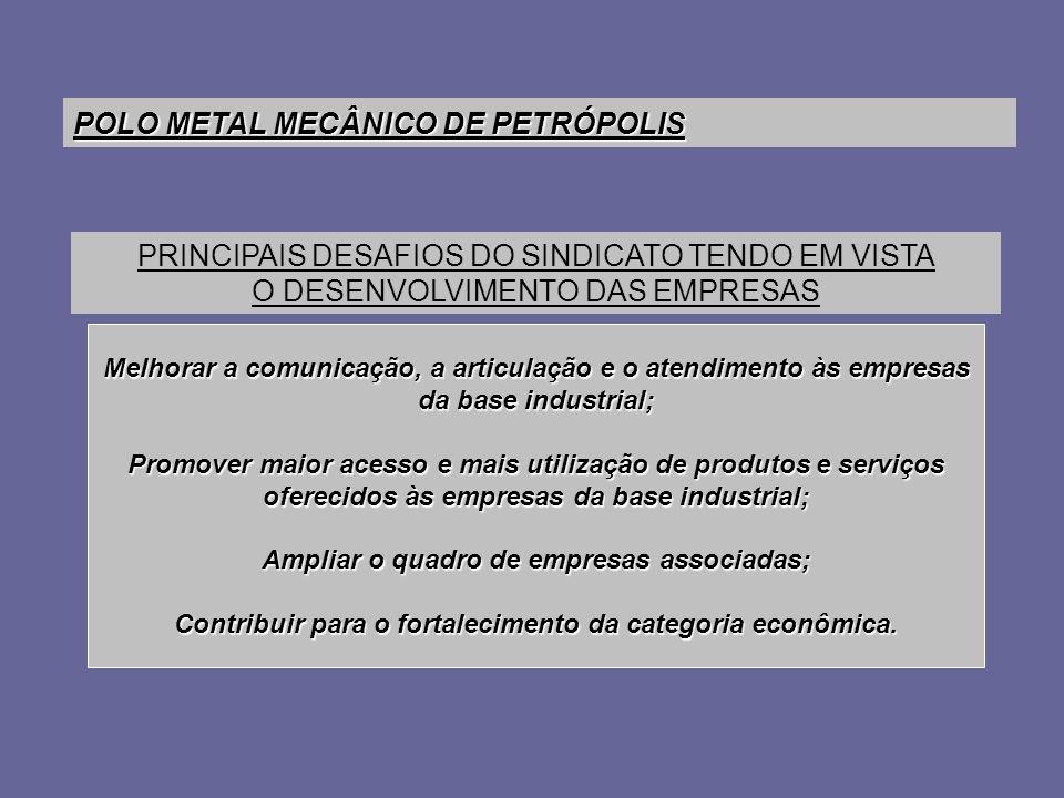 POLO METAL MECÂNICO DE PETRÓPOLIS Melhorar a comunicação, a articulação e o atendimento às empresas da base industrial; Promover maior acesso e mais u