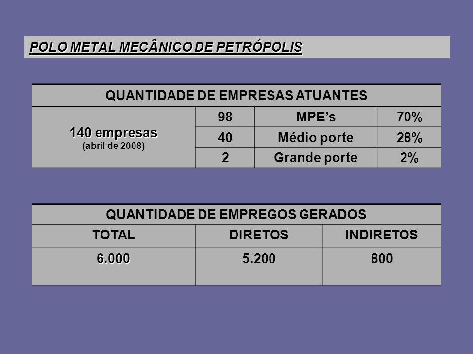 POLO METAL MECÂNICO DE PETRÓPOLIS QUANTIDADE DE EMPRESAS ATUANTES 140 empresas (abril de 2008) 98MPEs70% 40Médio porte28% 2Grande porte2% QUANTIDADE DE EMPREGOS GERADOS TOTALDIRETOSINDIRETOS 6.0005.200800